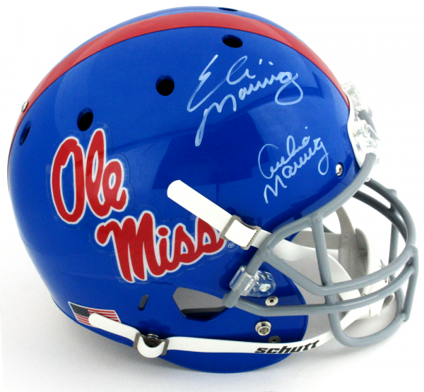Archie and Eli Manning Signed Ole Miss Rebels Schutt Powder Blue Full Size Helmet