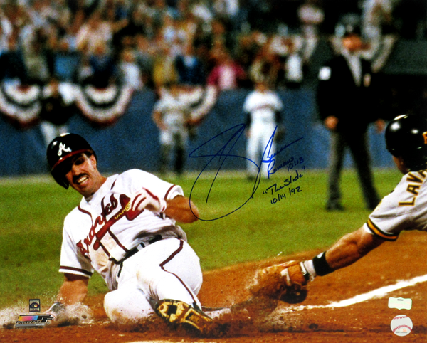 "Sid Bream Signed Atlanta Braves Iconic 16x20 MLB Photo With ""The Slide 10/14/92"" And Bible Verse Inscription"