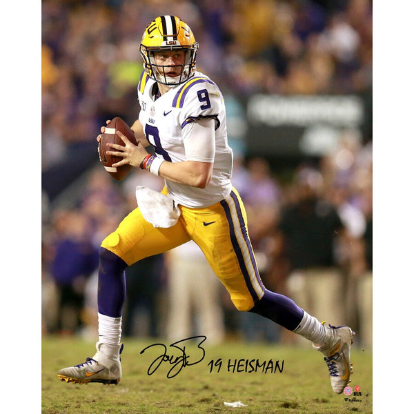 "Joe Burrow LSU Tigers Autographed 8"" x 10"" Passing Photograph with ""19 Heisman"" Inscription"