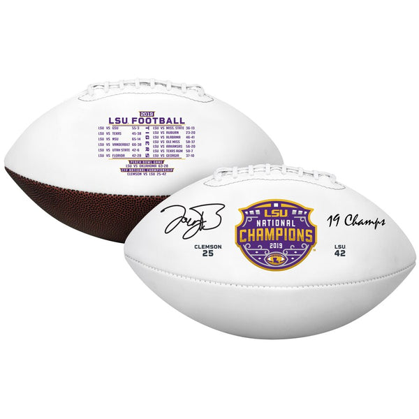 "Joe Burrow LSU Tigers Autographed College Football Playoff 2019 National Champions White Panel Football with ""19 Champs"" Inscription"
