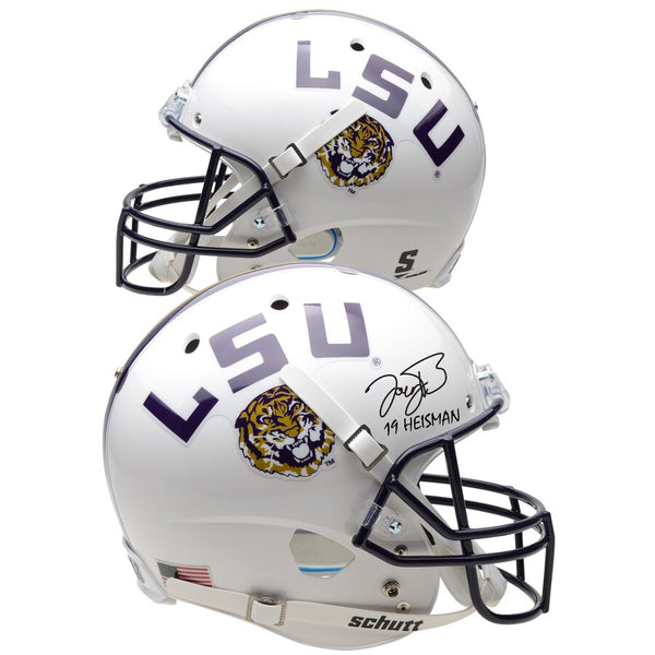 "Joe Burrow LSU Tigers Autographed Schutt White Replica Helmet with ""19 Heisman"" Inscription"