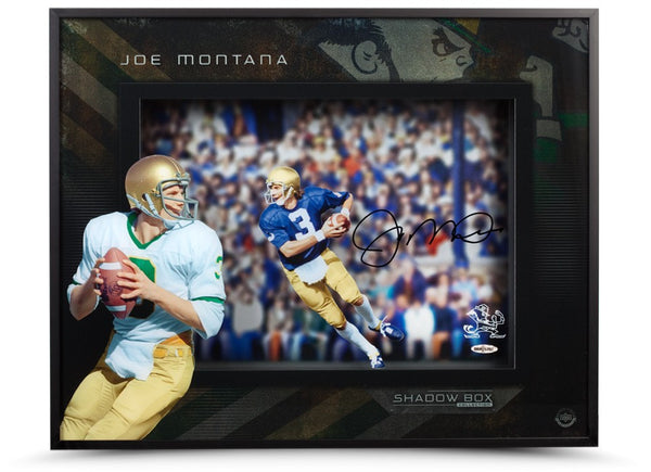 "Joe Montana Autographed Notre Dame Roll Out"" Shadowbox Display"""