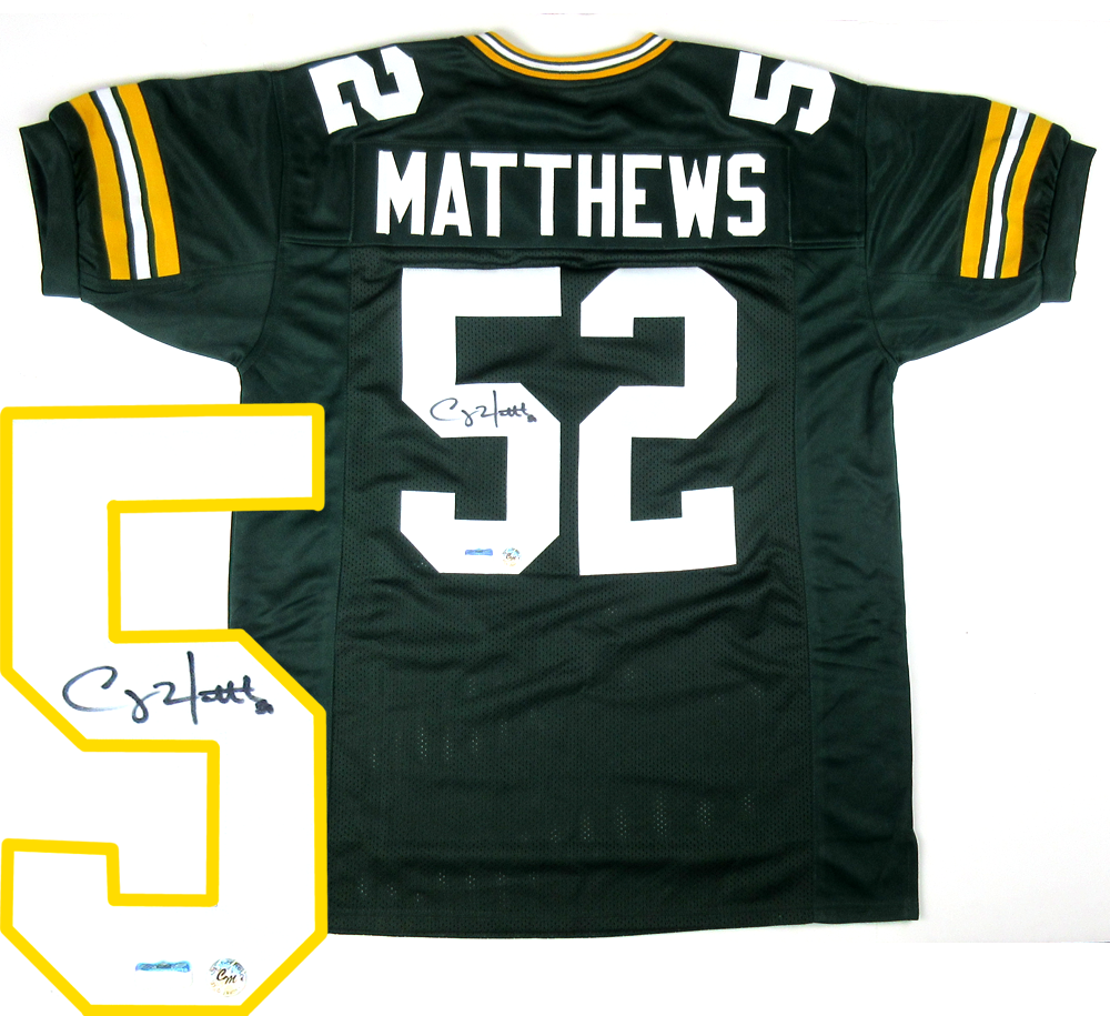 sale retailer 645e4 bb148 Clay Matthews Signed Green Bay Packers Deluxe Custom Home Jersey
