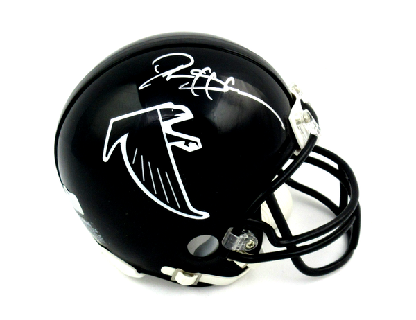 Deion Sanders Signed Atlanta Falcons Riddell Black Throwback NFL Mini Helmet - Silver Ink