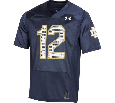 #12 Notre Dame Fighting Irish Under Armour College Football 150th Anniversary Replica Jersey - Navy