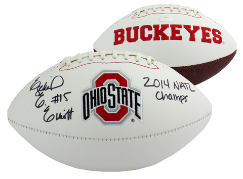 "Ezekiel Elliott Signed Ohio State Buckeyes Embroidered Logo Football With ""2014 Natl Champs"" Inscription"