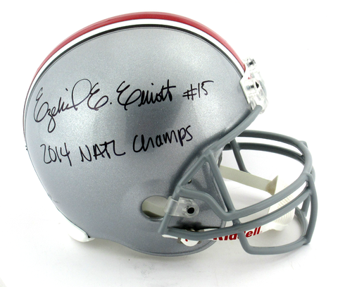 "Ezekiel Elliott Signed Ohio State Buckeyes Riddell Full Size Helmet With ""2014 Natl Champs"" Inscription"