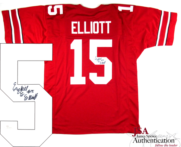 Ezekiel Elliott Signed Ohio State Buckeyes Red Custom Jersey - JSA