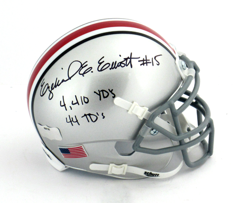 "Ezekiel Elliott Signed Ohio State Buckeyes Schutt Mini Helmet With ""4410 Yds 44 TDs"" Inscription"