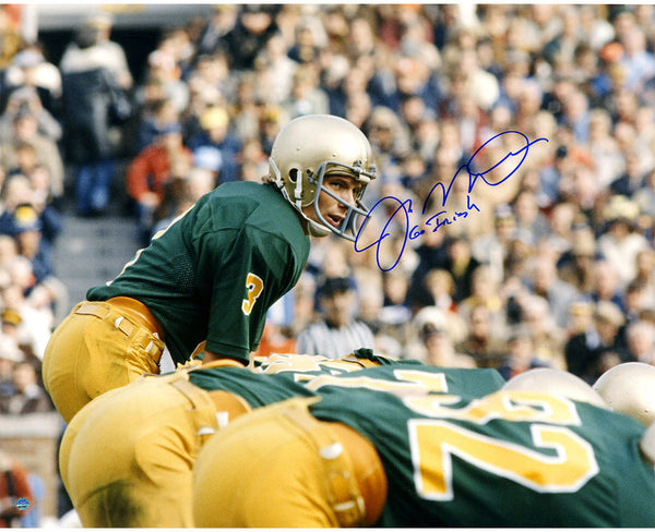 "Joe Montana Signed Notre Dame At Line Of Scrimmage Signed 16x20 Photo w/ ""Go Irish"" Inscription"