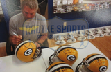 "Brett Favre Signed Green Bay Packers Full Size Helmet With ""HOF 16"" Inscription"