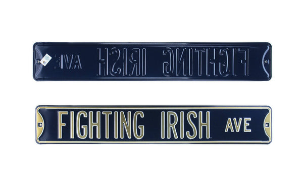 Notre Dame Fighting Irish Avenue Officially Licensed Authentic Steel 36×6 Navy Blue & Gold NCAA Street Sign