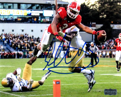 Todd Gurley Signed Georgia Bulldogs 8x10 NCAA Action Photo - Diving
