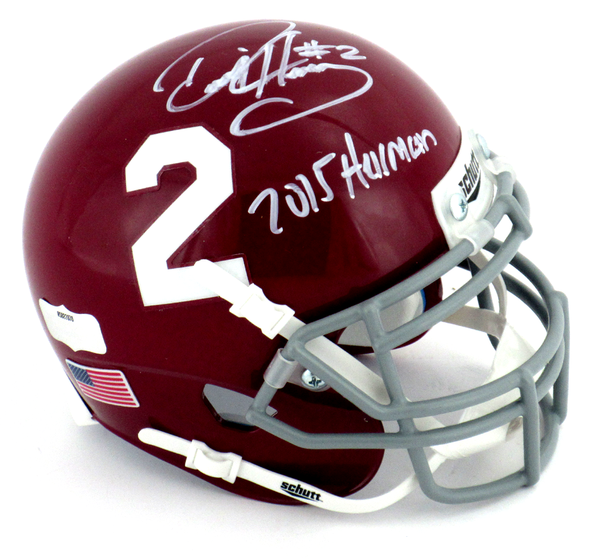 "Derrick Henry Signed Alabama Crimson Tide Schutt Mini Helmet With ""2015 Heisman"" Inscription - #2 Decal"