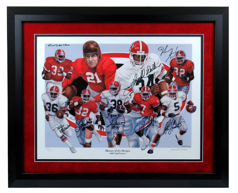 Georgia Bulldogs Multi-Signed Framed RB Heroes Of The Hedges Limited Edition Of 1000 Print With 8 Signatures