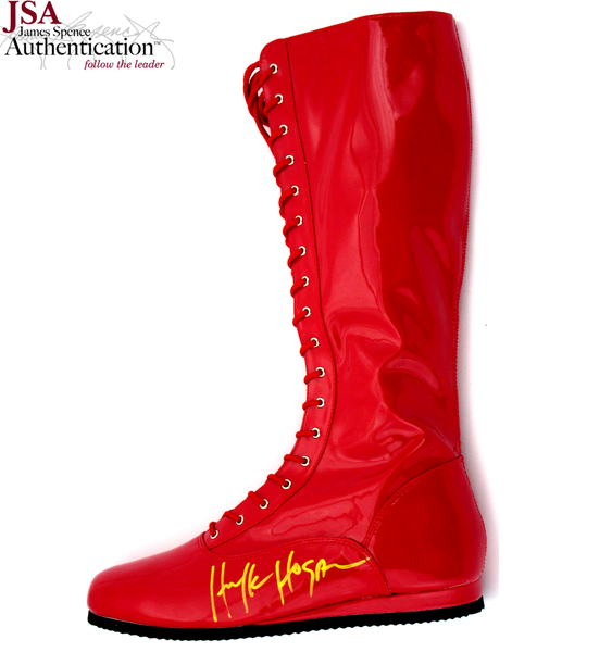 "Terry ""Hulk"" Hogan Autographed/Signed 1990'S Style Iconic Red Custom Wrestling Boot - JSA"