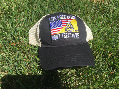 LIVE FREE OR DIE DON'T TREAD ON ME GADSDEN FLAG MESH HAT SNAPBACK - Hats - SPORTSCRACK