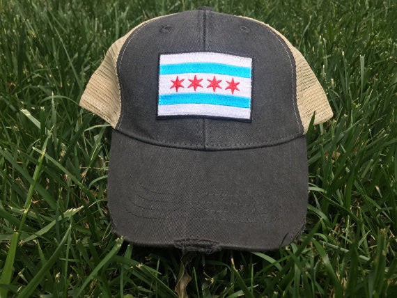 CHICAGO CITY FLAG MESH TRUCKER HAT SNAPBACK