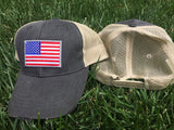 USA FLAG MESH TRUCKER HAT SNAPBACK