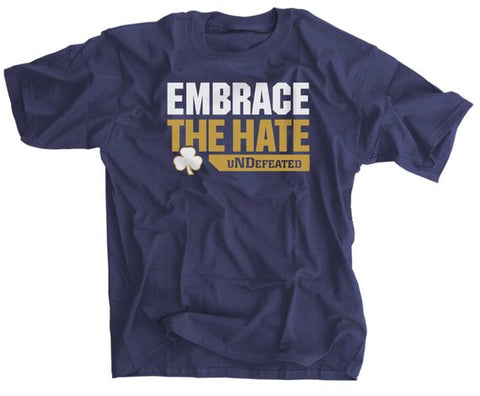 Embrace The Hate uNDefeated Navy Gold T-Shirt
