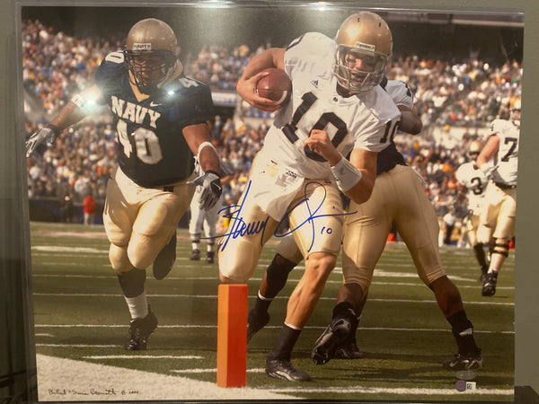 Brady Quinn Autographed Notre Dame Rushing TD 16x20 Photo