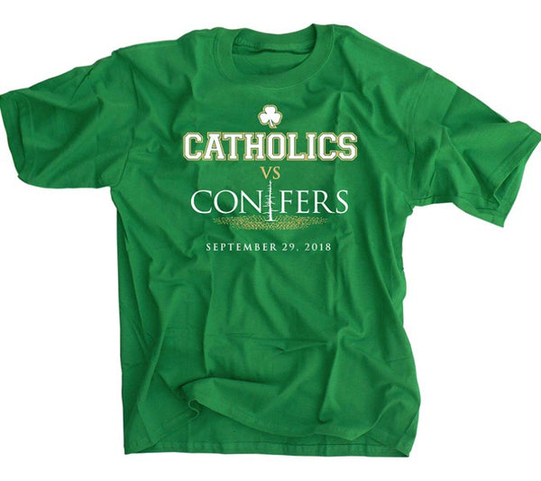 Catholics vs Conifers shirt notre dame versus stanford green football shirt
