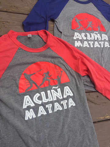Acuña Matata Tri-Blend Raglan 3/4-Sleeve T-Shirt – Heathered Gray/Red