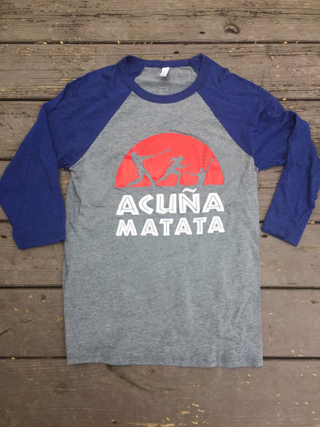 Acuña Matata Tri-Blend Raglan 3/4-Sleeve T-Shirt – Heathered Gray/Navy