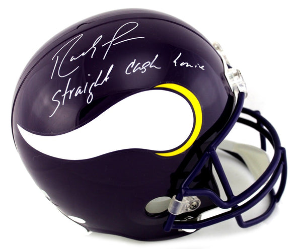 "Randy Moss Signed Minnesota Vikings Riddell Throwback Full Size NFL Helmet With ""Straight Cash Homie"" Inscription"