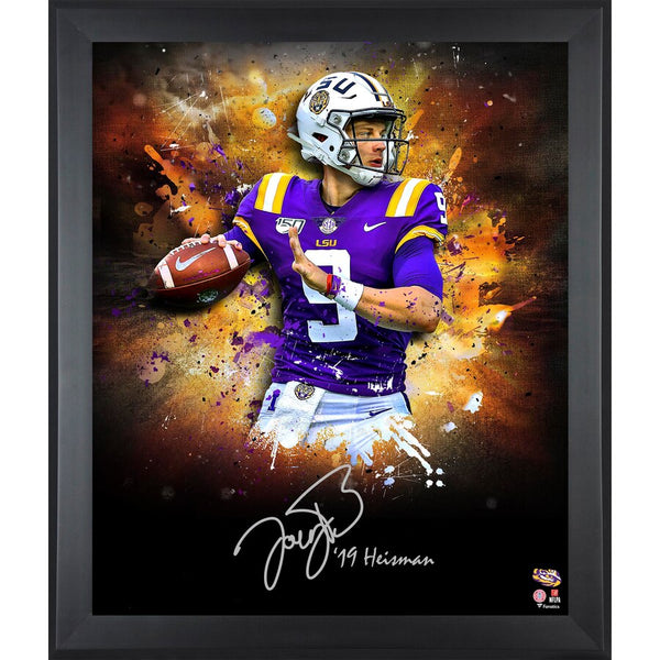 "Joe Burrow LSU Tigers Framed Autographed 20"" x 24"" In Focus Photograph with ""19 Heisman"" Inscription"