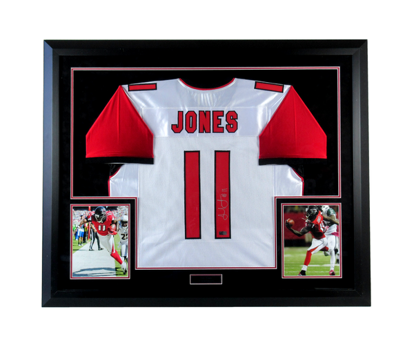 Julio Jones Signed Atlanta Falcons Framed White Custom Road Jersey - Memorabilia - SPORTSCRACK - 1