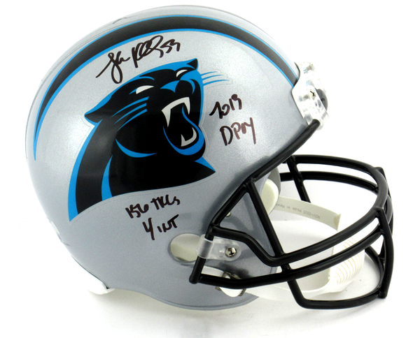 "Luke Kuechly Signed Carolina Panthers Riddell Full Size NFL Helmet With ""DPOY - Tackles - Ints"" Inscription"