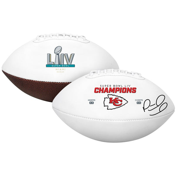Patrick Mahomes Kansas City Chiefs Super Bowl LIV Champions Autographed Super Bowl LIV Champions White Panel Football