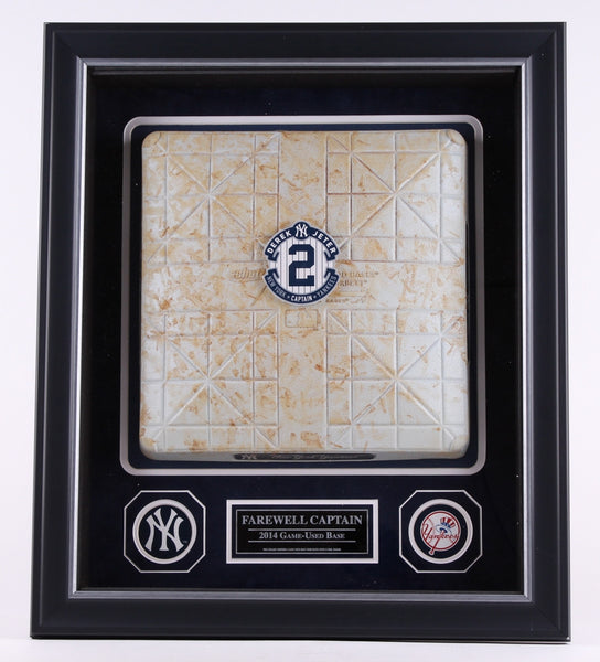 Framed 20x24 Derek Jeter Final Season 2014 Game Used Base Collage(MLB Authenticated)