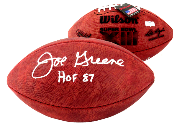 "Joe Greene Signed Wilson Authentic Super Bowl 13 NFL Football With ""HOF 87"" Inscription - Pittsburgh Steelers"