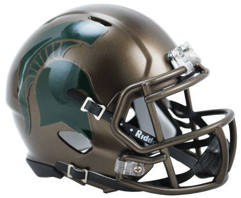 Michigan State Spartans 2015 Bronze Riddell Speed Mini Helmet - Helmet - SPORTSCRACK
