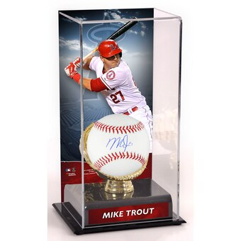 Mike Trout Los Angeles Angels Fanatics Authentic Autographed Baseball and Gold Glove Display Case with Image