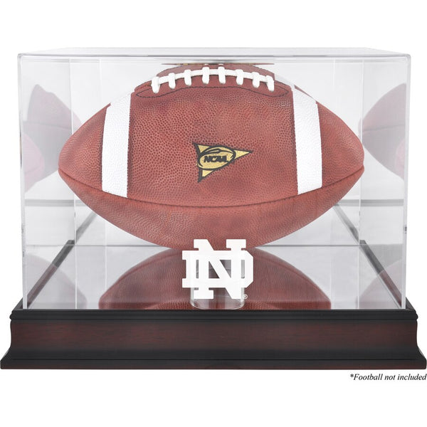 Notre Dame Fighting Irish Mahogany Base Logo Football Display Case with Mirror Back