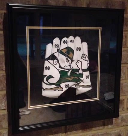 Framed Notre Dame Fighting Irish Adidas Smoke Receiver Gloves - Memorabilia - SPORTSCRACK