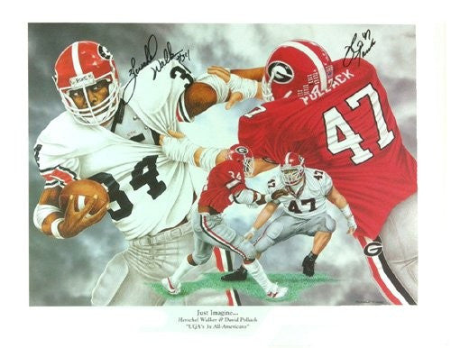 Herschel Walker & David Pollack Autographed/Signed Georgia Bulldogs NCAA 16x20 Print