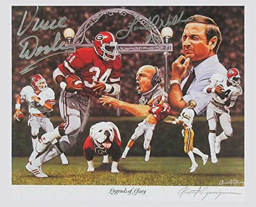 "Herschel Walker & Vince Dooley Autographed/Signed Georgia Bulldogs 8x12 NCAA Print ""Legends Of Glory"""