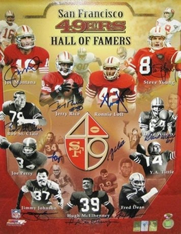 San Francisco 49ers Autographed/Signed Hall Of Famers 16x20 Photo Featuring Montana, Rice, Young, & Lott