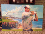 Tiger Woods Signed Victory at Pebble Beach Malcolm Farley Painting Canvas Upper Deck Authenticated UDA