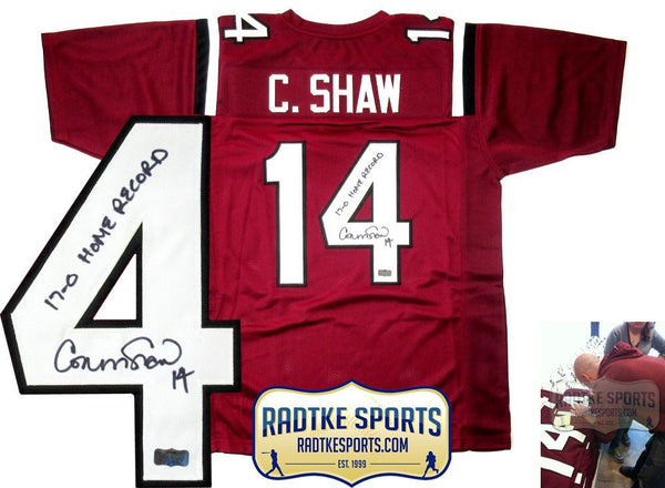 "Connor Shaw Autographed/Signed South Carolina Gamecocks Custom Jersey ""17-0"""