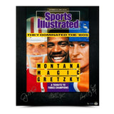 Joe Montana, Magic Johnson, & Wayne Gretzky Autographed 80's Dominance 20 x 24 - Upper Deck