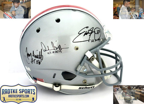 Archie Griffin, Eddie George, Troy Smith Signed Buckeyes Schutt Full Size Helmet