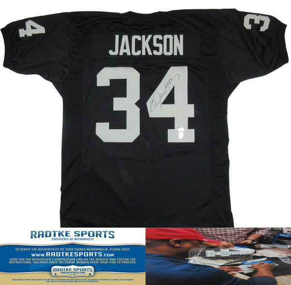 Bo Jackson Autographed/Signed Oakland Raiders Black Custom Deluxe Jersey