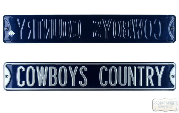 "Dallas Cowboys ""Cowboy Country"" Licensed Authentic Steel 36x6 NFL Street Sign"