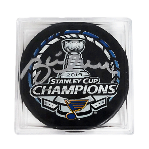 Brett Hull Autographed 2019 St. Louis Blues Stanley Cup Champions Puck Cased