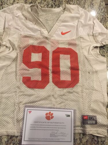 Dexter Lawrence Clemson Tigers Fanatics Authentic Practice-Used #90 White Jersey from the 2015-17 Football Seasons - Size 3XL
